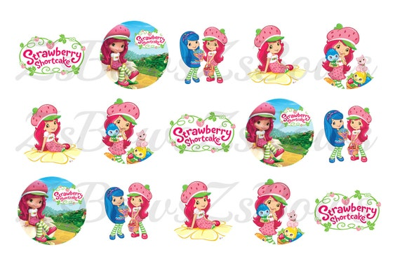 Strawberry Shortcake 4x6 1 inch Bottle cap image/Digital Collage sheet