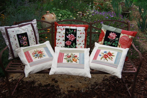 Set of 3 Stunning Floral Tapestry Cushions