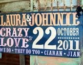 JUST MARRIED Vinyl Indoor/Outdoor Sign 2' x 4' : Custom w/ Names, Monogram, Wedding Colors for Getaway Car, Limo