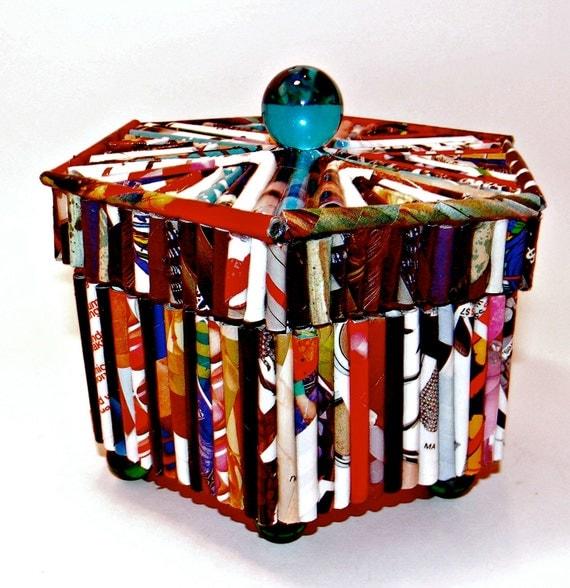 SALE 25% OFF--Hexagonal magazine reed box