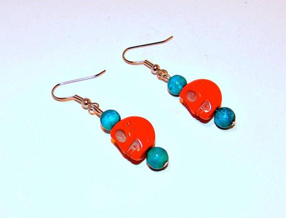 SALE 50% OFF---Orange & Turquoise Skull Earrings
