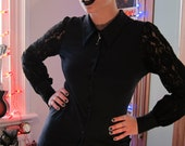 RESERVED Real BIBA Blouse Black with Puff Lace Sleeves and Stretch body with Pointed collars, Goth, London, size S