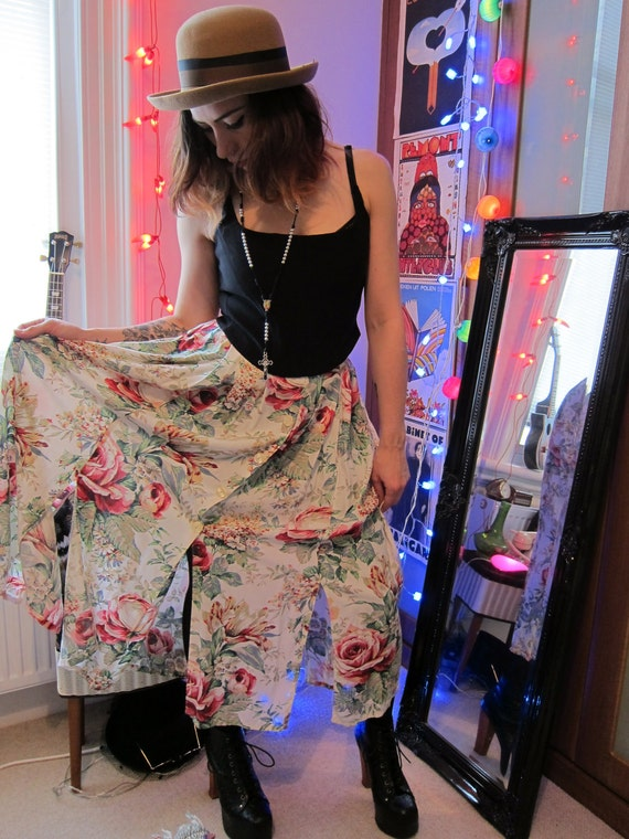 Floral 90's Revival Grunge High Waisted Midi Skirt with buttons down front and slits along bottom