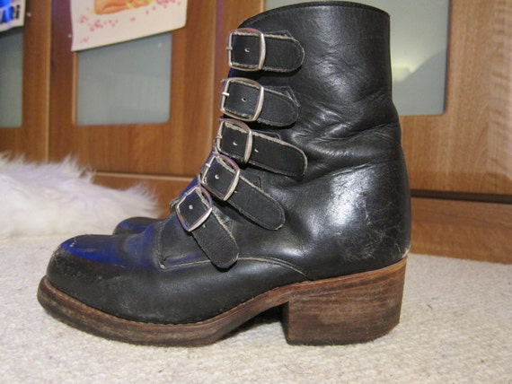 Reserved with deposit for Scorpio14 Badass Buckled Leather Heeled Ankle Biker Boots 90's Revival Grunge