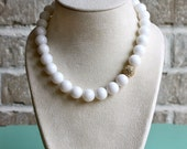 Chunky White Beaded Necklace (Jade) with Crystal Pave Stone