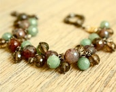 Gemstone Cluster Bracelet with Green Aventurine, Fire Agate, and Smoky Quartz Beads