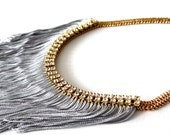 Fringe Bib Necklace with Double Row Rhinestones on Thick Gold Chain, Statement Necklace