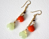 Pumpkin Orange Earrings with Jade and Purple Crystals - 14kt Gold Filled
