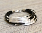 Black Leather Bracelet with Gold or Silver Tube Accents