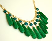 Green Jade and Turquoise Statement Necklace (Bib Style)