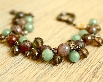 Gemstone Cluster Bracelet with Green Aventurine, Fire Agate, and Smoky Quartz Beads