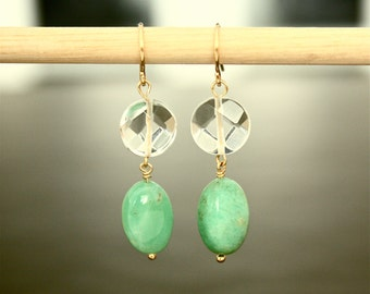 Green Gemstone Earrings with Crystal Quartz - 14kt Gold Filled