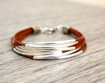 Leather Bracelet in Burnt Orange with Silver Tube Accents (also available in GOLD)