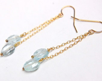 CLEARANCE SALE Dangling Aquamarine Earrings (14kt gold filled) March Birthstone