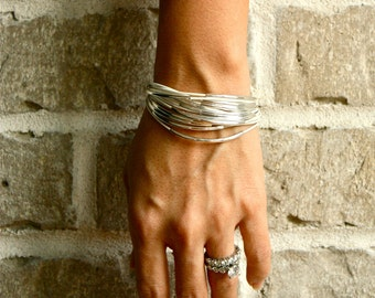 White Leather Bracelet with Gold or Silver Tube Accents