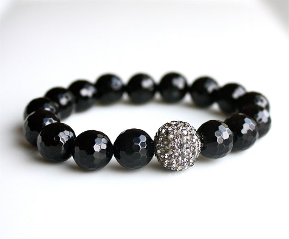 Black Onyx Bracelet with Single Crystal Pave Ball