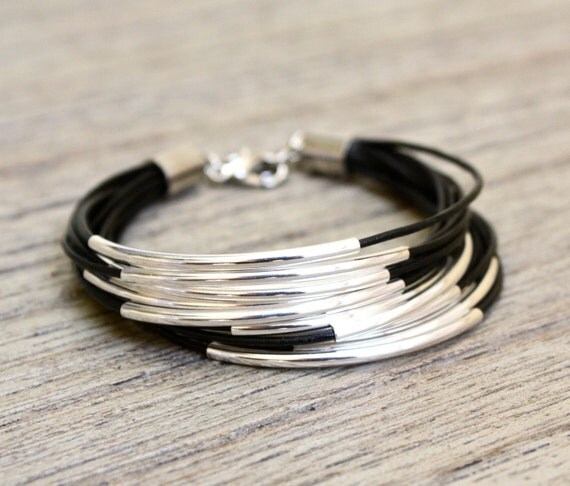 Leather Bracelet with Gold or Silver Tube Accents (14 bangles)
