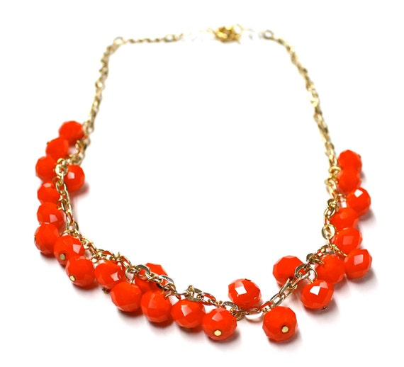 CLEARANCE SALE: Tangerine Crystal Rondelle Necklace on Gold Chain