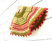 Girl's Hand Knit Red and Celery Green Wool Poncho Original Design Soft and Cozy
