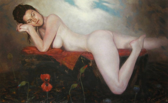 RESERVED-Undine. Original nude oil figurative painting - 26.8 x 43.3 inches, Free shipping.