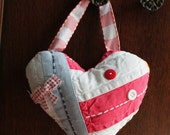 Valentine Stuffed  Heart Ornament So Pretty Upcycled