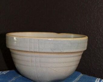 Rustic Vintage Crock Bowl Cream Colored Primitive