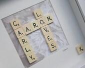 Personalised Valentines Frame - Original Scrabble Tile Art Work