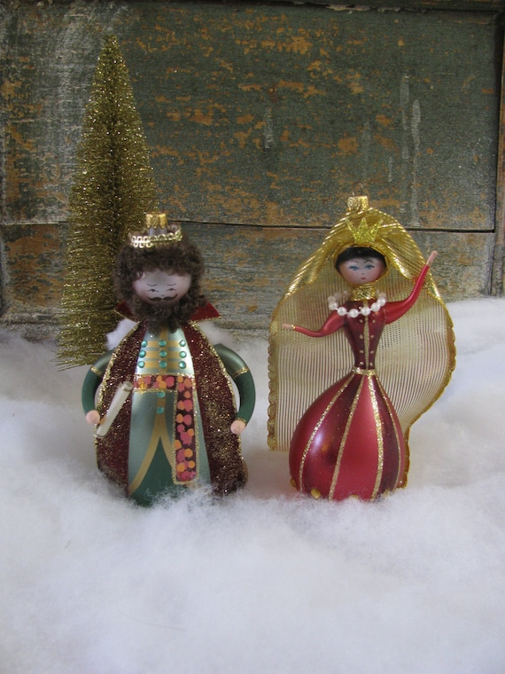 Glass King And Queen Ornaments Handblown In Italy