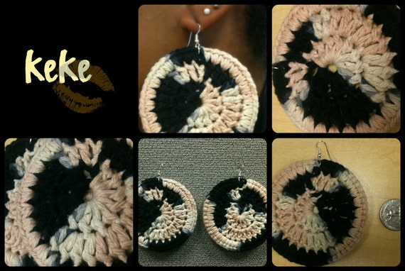 Black, Cream, and Tan Crochet Earrings