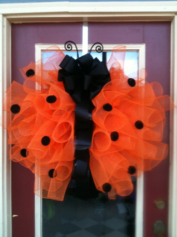 Ladybug Orange and Black Polka Dot Large 28-inch Poly Deco Mesh and Ribbon Wreath Spring and Summer Door Décor