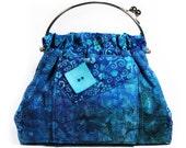 Aqua Blue Handbag Tropical Flowers