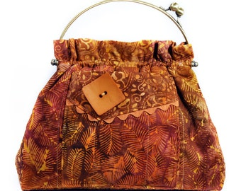 Copper Brown Handbag Metal Frame