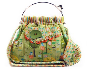 Shoulder Bag Green Orange Retro Birds Stripes