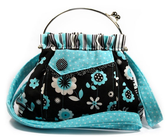 Turquoise Black Bag Shoulder Strap Retro Flowers and Stripes