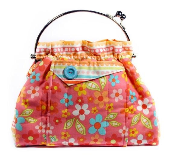 Flower Handbag Pink Teal Green Orange Bag
