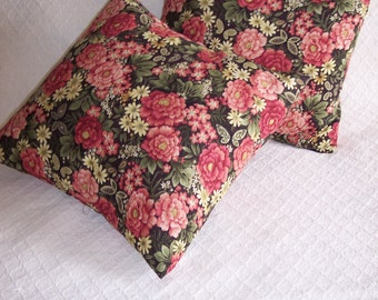 Coral Printed floral pillow cover Set Clearance WAS 18.00,Coral and green removable pillow covers,Clearance Pillow Covers, Gifts for Home