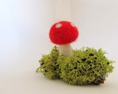 Needle Felted Red Mushroom Moss and Wood Piece Waldorf Inspired