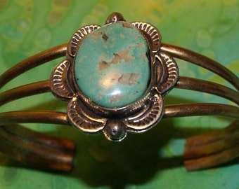 VINTAGE NAVAJO CUFF Turquoise Signed c1990