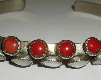 CARINATED NAVAJO CUFF Coral Pearl Sterling  c1970