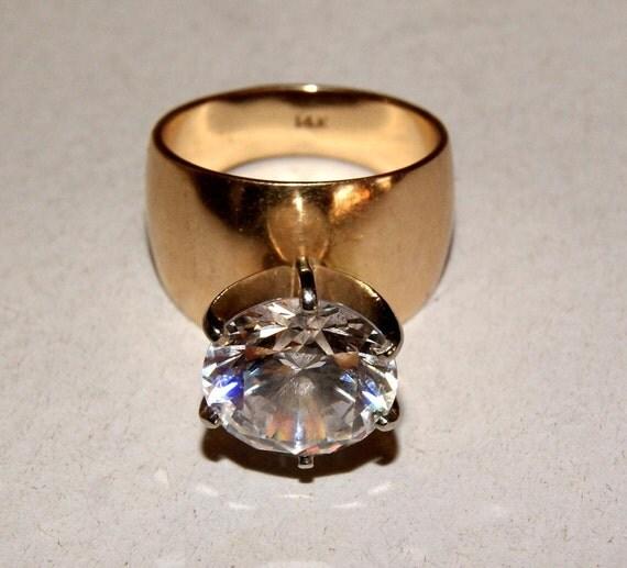 BIG RUSSIAN DIAMOND Ring 14k Gold 16.5g  c1970