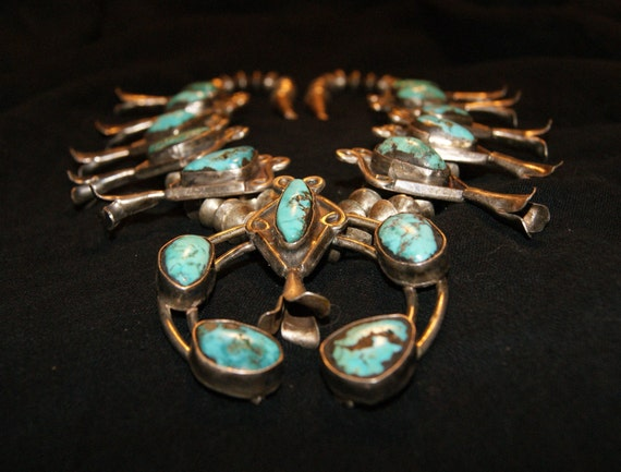 ZUNI SQUASH BLOSSOM Sterling Turquoise Necklace c1940-50