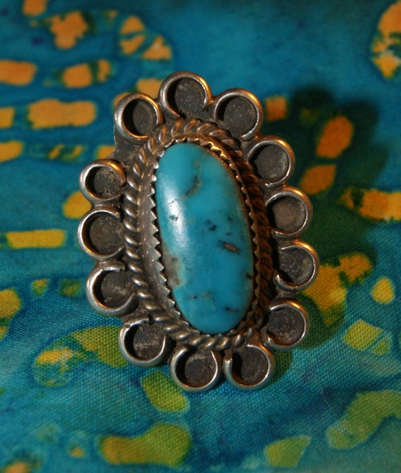 SOLD OLD PAWN Navajo Sterling Ring  Rare Blue Gem Turquoise  Size 7 c1940