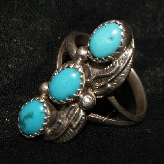 OLD PAWN NAVAJO Triple Turquoise Blossom Sterling Silver Ring Size 7...c1970