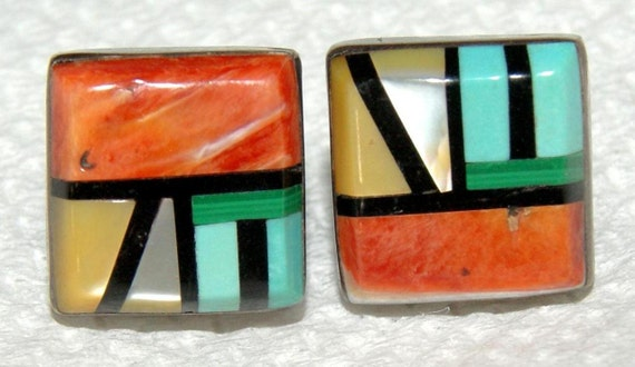 OLD PAWN ZUNI Sterling Inlay Post Earrings..Spiny Oyster Turquoise..Signed eh..c1950