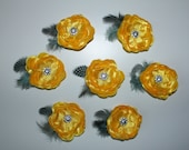 7 Yellow Hair Flower clips with Rhinestones and Feathers - RESERVED for Darcy and/or Molly