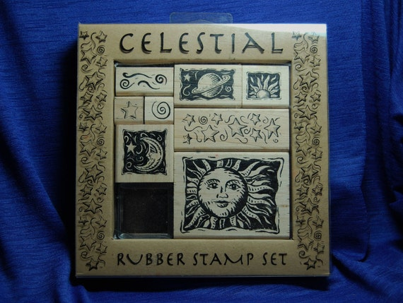 Celestial set 8 stamps . Star, Moon & Sun. Wooden Handle Rubber Stamps. Used.