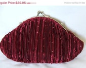 RED SALE Simple Beaded Clutch - Burgundy
