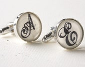 Custom Monogrammed Cufflinks - Personalized Wedding Cufflinks for Groom, Groomsmen and Best Man