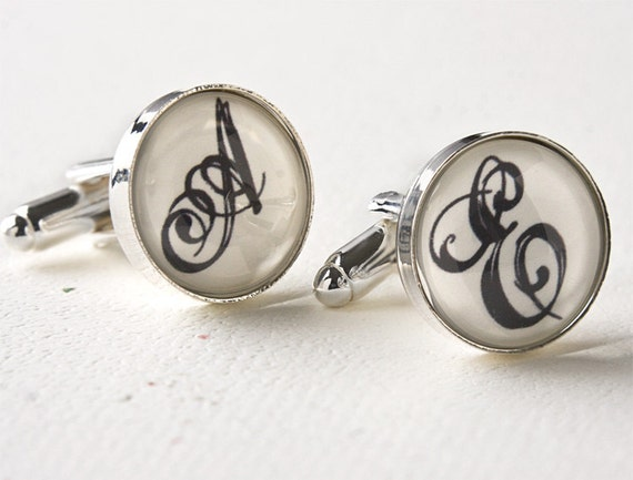 Monogrammed Cufflinks - Personalized Wedding Cufflinks for Groom, Groomsmen and Best Man - Suit Accessories - Unique Gifts for Men