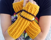 Sunflower Gold long ribbed with wrist strap crochet button arm warmers, fingerless gloves